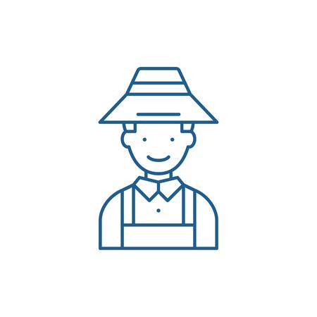 Farmer line concept icon. Farmer flat  vector website sign, outline symbol, illustration. Banque d'images - 119914493