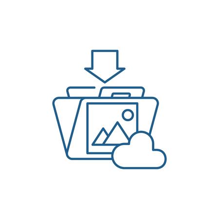 File upload line concept icon. File upload flat  vector website sign, outline symbol, illustration. Illustration