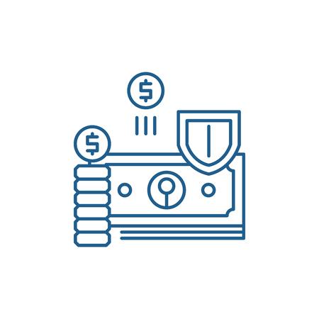 Finance protection line concept icon. Finance protection flat  vector website sign, outline symbol, illustration. Ilustração