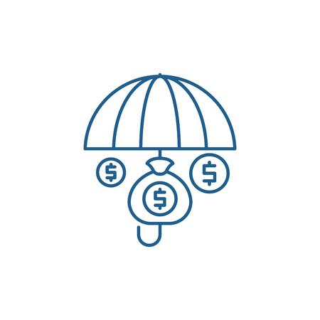 Financial insurance line concept icon. Financial insurance flat  vector website sign, outline symbol, illustration.