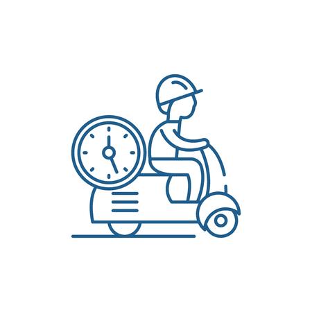 Fast courier line concept icon. Fast courier flat  vector website sign, outline symbol, illustration.  イラスト・ベクター素材