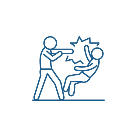 Fight line concept icon. Fight flat  vector website sign, outline symbol, illustration.