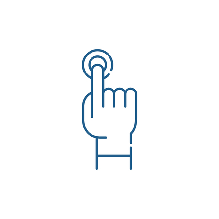 Finger tapping line concept icon. Finger tapping flat  vector website sign, outline symbol, illustration.