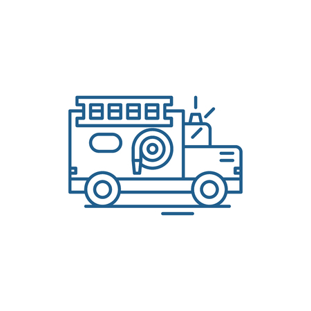 Fire engine line concept icon. Fire engine flat  vector website sign, outline symbol, illustration.