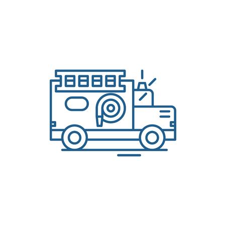 Fire engine line concept icon. Fire engine flat  vector website sign, outline symbol, illustration.
