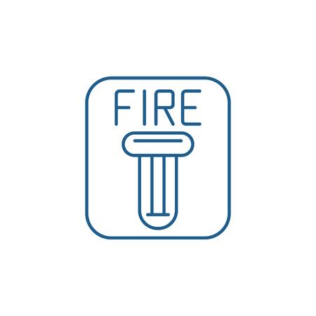 Fire safety line concept icon. Fire safety flat  vector website sign, outline symbol, illustration.