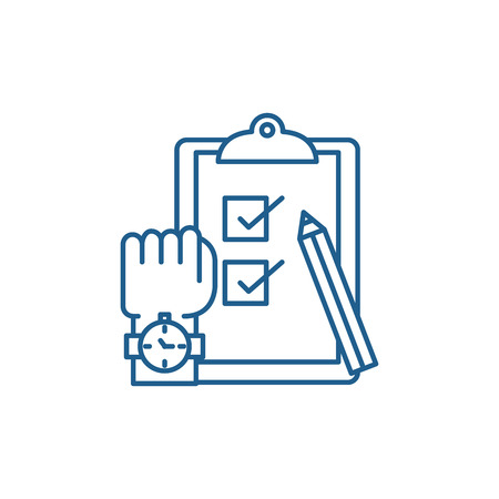 Exams line concept icon. Exams flat  vector website sign, outline symbol, illustration. Illusztráció