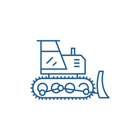 Excavator line concept icon. Excavator flat vector website sign, outline symbol, illustration.