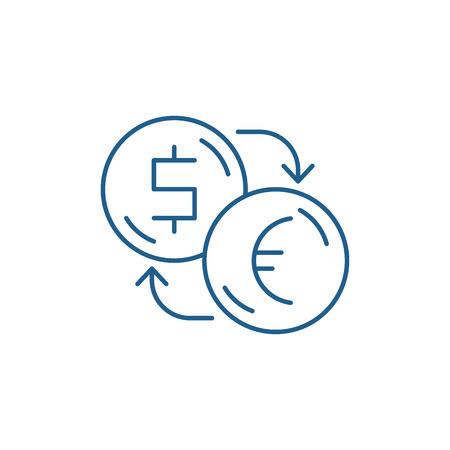 Exchange of dollars for euros line concept icon. Exchange of dollars for euros flat  vector website sign, outline symbol, illustration. Foto de archivo - 119914373