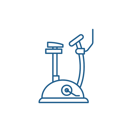 Exercise bike line concept icon. Exercise bike flat  vector website sign, outline symbol, illustration.
