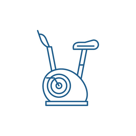 Exercise bikes line concept icon. Exercise bikes flat  vector website sign, outline symbol, illustration. Çizim