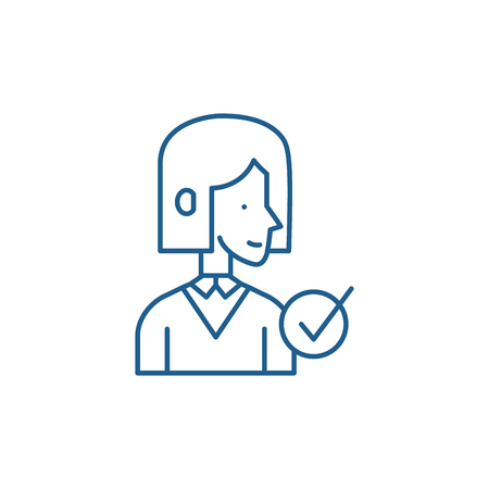 Expert man line concept icon. Expert man flat  vector website sign, outline symbol, illustration.