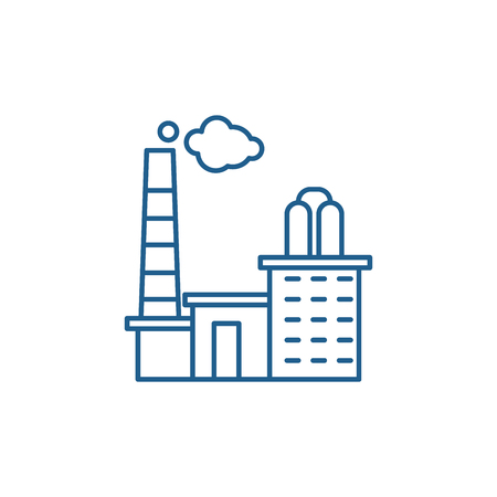 Factory line concept icon. Factory flat  vector website sign, outline symbol, illustration.