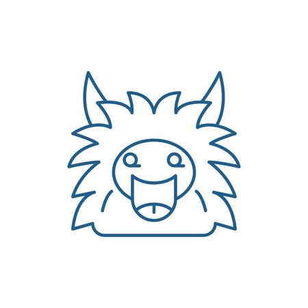 Fairy monster line concept icon. Fairy monster flat  vector website sign, outline symbol, illustration.