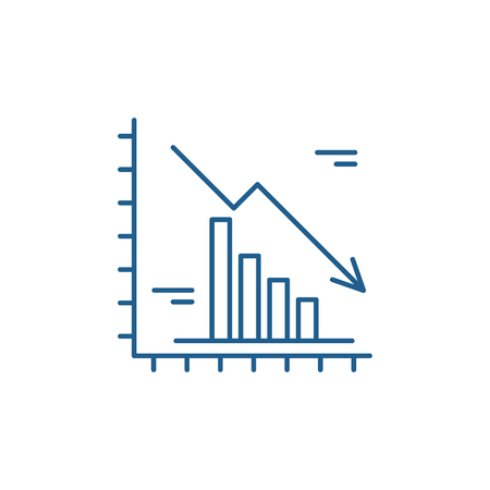 Falling markets line concept icon. Falling markets flat  vector website sign, outline symbol, illustration.