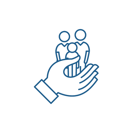 Family care line concept icon. Family care flat  vector website sign, outline symbol, illustration.