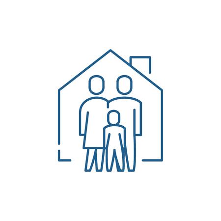 Family comfort line concept icon. Family comfort flat  vector website sign, outline symbol, illustration.