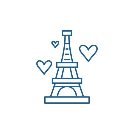 Eiffel tower line concept icon. Eiffel tower flat  vector website sign, outline symbol, illustration. Ilustracja