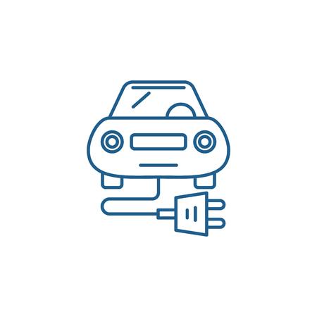 Electric car line concept icon. Electric car flat  vector website sign, outline symbol, illustration. Stock Illustratie