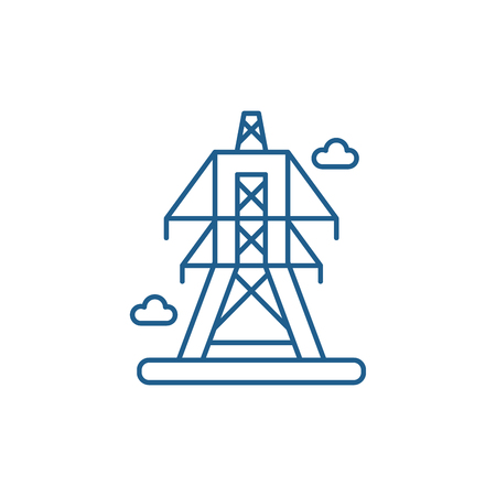 Electric lines line concept icon. Electric lines flat vector website sign, outline symbol, illustration.