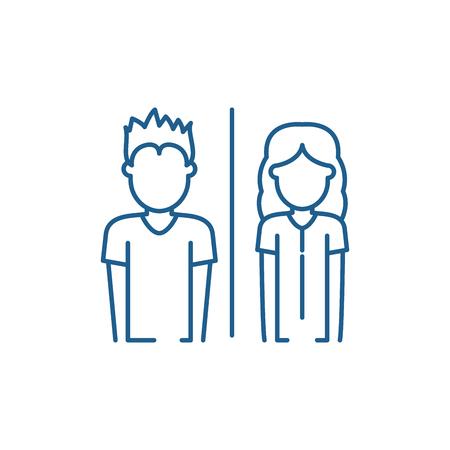Embarrassment line concept icon. Embarrassment flat  vector website sign, outline symbol, illustration. Иллюстрация