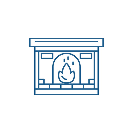Fireplace line concept icon. Fireplace flat  vector website sign, outline symbol, illustration.