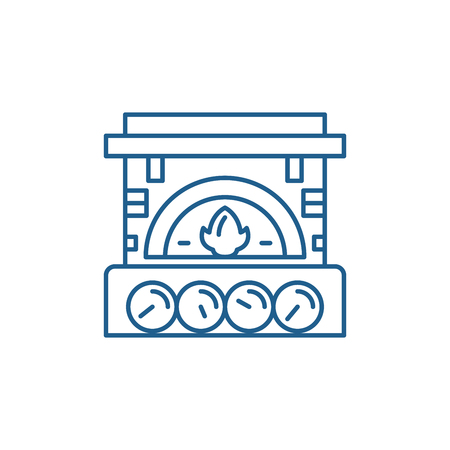 Fireplace brick line concept icon. Fireplace brick flat  vector website sign, outline symbol, illustration.