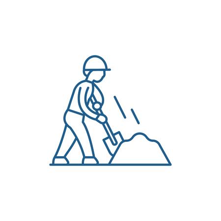 Icône de concept de ligne de terrassement. Signe de site Web de vecteur plat de terrassement, symbole du contour, illustration. Vecteurs