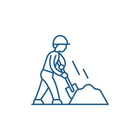 Earthworks line concept icon. Earthworks flat  vector website sign, outline symbol, illustration.