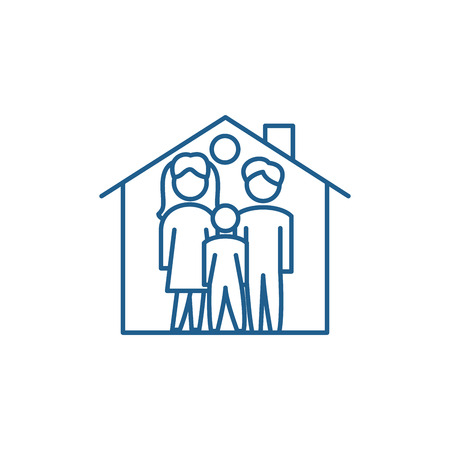 Family house line concept icon. Family house flat  vector website sign, outline symbol, illustration.