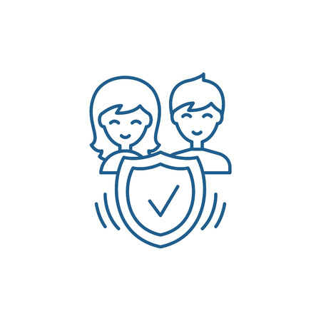 Family insurance line concept icon. Family insurance flat  vector website sign, outline symbol, illustration. Illustration