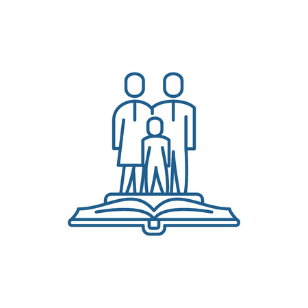 Family law line concept icon. Family law flat  vector website sign, outline symbol, illustration. Vettoriali