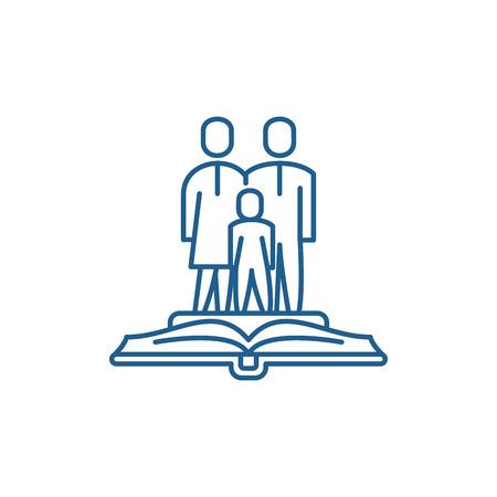 Icono de concepto de línea de derecho de familia. Sitio web de vector plano de derecho de familia de signo, símbolo de contorno, Ilustración