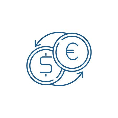 Fast currency exchange line concept icon. Fast currency exchange flat  vector website sign, outline symbol, illustration. Çizim