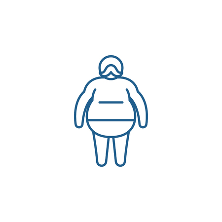 Fat man line concept icon. Fat man flat  vector website sign, outline symbol, illustration.