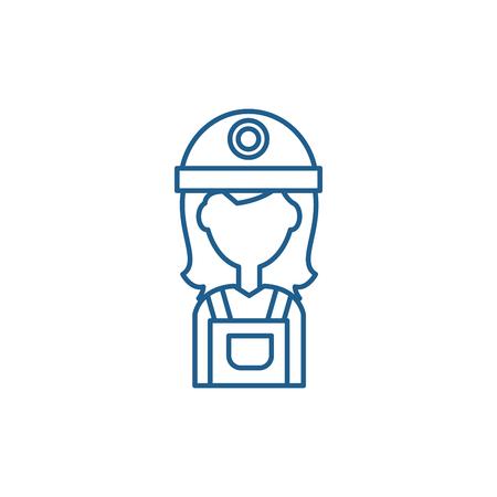 Female builder line concept icon. Female builder flat  vector website sign, outline symbol, illustration. Zdjęcie Seryjne - 119913992