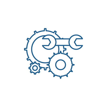 Engineering support line concept icon. Engineering support flat  vector website sign, outline symbol, illustration. Banque d'images - 119913994