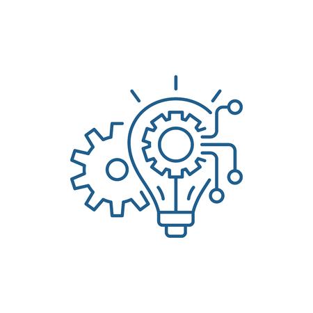 Icône de concept de ligne de système d'ingénierie. Signe de site Web de vecteur plat de système d'ingénierie, symbole de contour, illustration.
