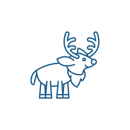Festive deer line concept icon. Festive deer flat  vector website sign, outline symbol, illustration. Archivio Fotografico - 119913886