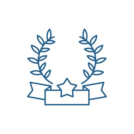 Emblem of victory line concept icon. Emblem of victory flat  vector website sign, outline symbol, illustration.