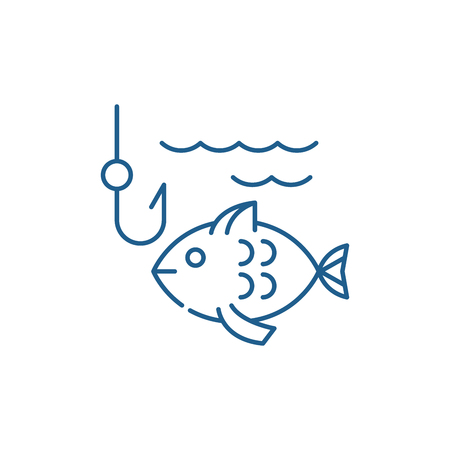 Fishing line concept icon. Fishing flat  vector website sign, outline symbol, illustration. 写真素材 - 119906880
