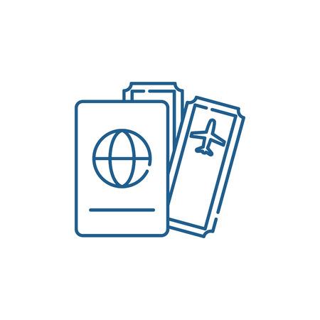 Flights line concept icon. Flights flat  vector website sign, outline symbol, illustration.  イラスト・ベクター素材