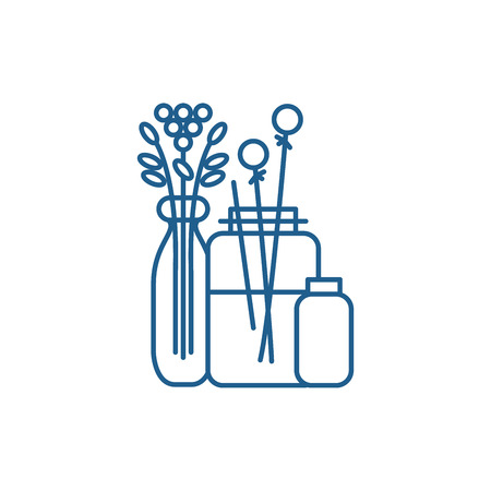 Flowers in the interior line concept icon. Flowers in the interior flat  vector website sign, outline symbol, illustration.