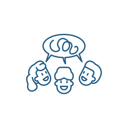 Icône de concept de ligne de groupe de discussion. Groupe de discussion télévision vector signe site Web, symbole du contour, illustration. Vecteurs