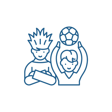 Football fans line concept icon. Football fans flat  vector website sign, outline symbol, illustration.