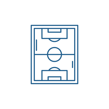 Football field line concept icon. Football field flat  vector website sign, outline symbol, illustration.  イラスト・ベクター素材