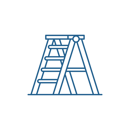 Folding ladder line concept icon. Folding ladder flat  vector website sign, outline symbol, illustration.