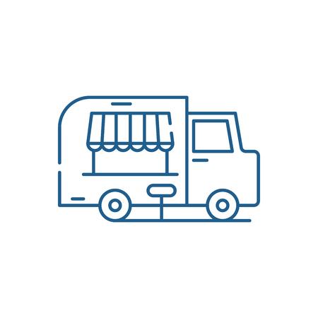 Food track line concept icon. Food track flat  vector website sign, outline symbol, illustration. Stockfoto - 119907239