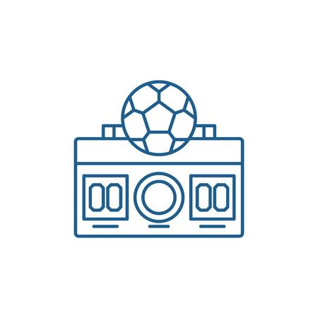 Football score line concept icon. Football score flat  vector website sign, outline symbol, illustration. Stock Illustratie