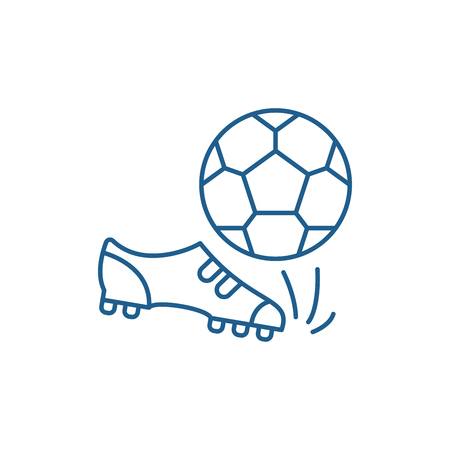 Football line concept icon. Football flat  vector website sign, outline symbol, illustration.  イラスト・ベクター素材